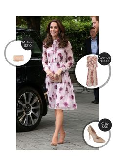 Kate Middleton Floral frock! The Duchess is sweet in a pretty pink dress in London.    #katemiddleton @mode.ai