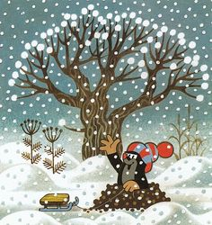 Krtek with his toboggan Winter Illustration, Illustration Art, La Petite Taupe, Cartoon Kids, Science And Nature, Winter Snow, Four Seasons, Art Drawings, Crafts