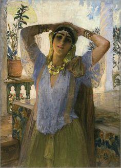 Frederick Arthur Bridgman · Jeune Femme Sur Une Terrasse