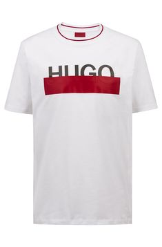 HUGO - Cotton T-shirt with partially concealed logo Hugo Boss Clothing, Hugo Men, Lace Up Trainers, Best Wear, Dress For Success, Sports Jacket, Sport T Shirt, Casual T Shirts, Casual Looks