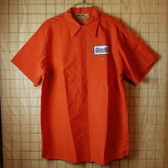 【RED CAP】古着USA製オレンジDynAir半袖ワッペンワークシャツ|メンズL|sy-s-75