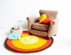PATTERN : Armchair  with 2 cushion , rug and knitting basket