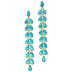 Ippolita 18K Yellow Gold Rock Candy Cascade Teardrop Earrings with... ($4,080) ❤ liked on Polyvore featuring jewelry, earrings, gold teardrop earrings, teardrop earrings, turquoise earrings, 18k gold earrings and 18k earrings