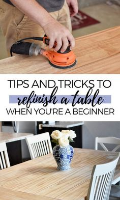 A Beginner's Guide To Refinishing A Table Are you looking for DIY table refinishing ideas for your kitchen or dining room table? Check out my table refinishing post for lots of tips and tricks to create your own modern, farmhouse wood table without having Diy Dining Room Table, Diy Furniture Table, Furniture Makeover, A Table, Modern Furniture, Dining Rooms, Furniture Legs, Barbie Furniture, Garden Furniture