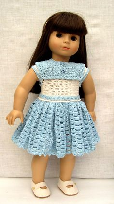"18 inch Doll Clothes Handmade outfit for 18"" dolls like American Girl ( AG ) Gotz doll Tess is modeling a crochet dress Pattern is from ( ""Baby's Sunday Best"") I used #10 thread instead of yarn and a #3 hook With a few adjustments it fits great (made by Barb Marlee)"