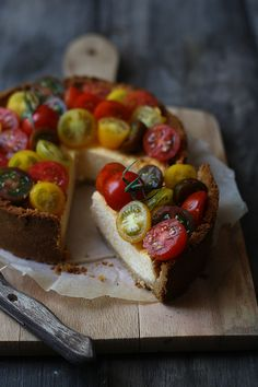 savory tomato cheesecake (with cheddar cheese too).