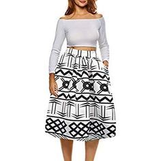 d27f4199e3b Afibi African Print Skirts for Women Boho Plus Size Flare Pleated Skirts ( Medium