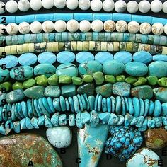 "Howlite, Magnesite, Block and Turquoise, Natural, Dyed or Stabilized. The ""Chinese Yellow Turquoise"" may be a Serpentine, the black matrix is often attracted by a magnet. Can you tell what material is represented by each example? Click the picture to see Magpie Gemstones list."