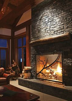 Red Deer Ranch Timber Frame Home - Fireplace by Riverbend Timber Framing. Must have a gorgeous fireplace in my future home Home Fireplace, Fireplace Design, Fireplace Cover, Fireplace Windows, Fireplace Inserts, Fireplace Ideas, Sweet Home, Interior Design Photos, Timber Frame Homes