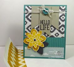 Inking Idaho: Demonstrator Theater Video; Cardstock: Lost Lagoon, Basic Gray, Sahara Sand, Sweet Dreams Designer Series Paper Stamp Set: Hello Life, Crazy About You Accessories: Flower Medallion Punch, Sweet Dreams Designer Buttons