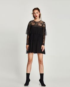 ZARA - WOMAN - RUFFLED DOTTED MESH DRESS WITH LACE