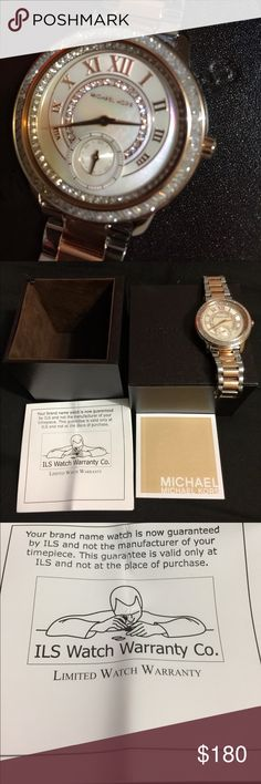 Michael Kors Madelyn Rose gold watch w/ crystals Authentic MK watch. New w/ paperwork, warranty info, and box. I had a professional jeweler remove 4 links that I will include. This was a Christmas gift, but I never wore it. Very sparkly and pretty. The photos do not do it justice! Michael Kors Accessories Watches