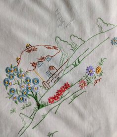 Tablecloth - Embroidered Cottages In Their Gardens Vintage Linen, Shabby Vintage, Australian Vintage, Tablecloths, Embroidery Thread, Rustic Style, Blue Bird, Blue Flowers, Cottages