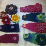 winter headbands w/ detachable flowers, $10.00 each (buy 2 get 1 free)  Flower lapel pins $5.00