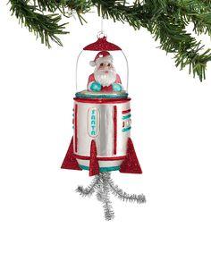 1956 Christmas Santa Rocket Ornament