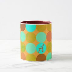 Turquoise Blue Green & Orange Circles Monogram Mug - monogram gifts unique custom diy personalize