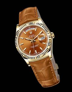 Rolex Day-Date,  cognac dial and strap with yellow-gold case