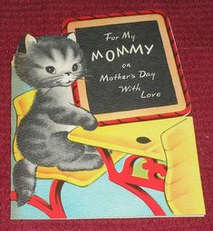 Vintage 1940s Volland Cute Kitten Blackboard Mother's Day Die Cut Greeting Card | eBay
