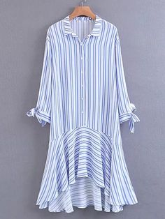 Blue Stripe Shirt Collar Bow Tie Sleeve Ruffle Dipped Hem Dress Source by PatriceCamilleR Dresses For Teens, Trendy Dresses, Blue Dresses, Casual Dresses, Short Dresses, Casual Outfits, Fashion Dresses, Dresses With Sleeves, Sleeve Dresses