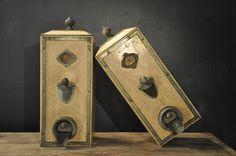 pair of painted metal coffee machines  c.1930