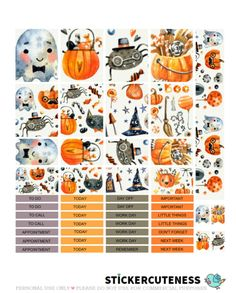 Free Printable Scary Halloween Planner Stickers from StickerCuteness
