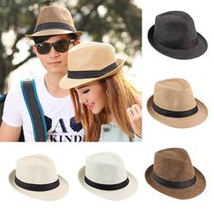 Hot Unisex Fedora Trilby Hat Cap Straw Panama Style Packable Travel Sun Hat~JX #Unbranded