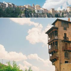 Day trip from Madrid to Cuenca. The hanging houses are the highlight of the city.  #travel #carameltrail #spain #cuenca #architecture #roadtrip