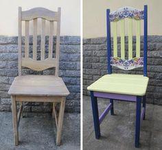 Antes e depois cadeira renovada
