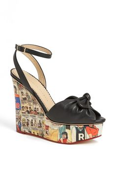 Charlotte Olympia 'Archie' Wedge Sandal (Nordstrom Exclusive) at Nordstrom.com. A retro Archie comic-strip panel print adds throwback charm to a strappy, wedge heel sandal embellished with a floppy bow.