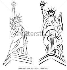 An image of a set of statue of liberty drawings. by John T Takai, via ShutterStock
