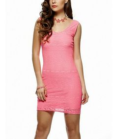 This Pink Lace Sleeveless Dress by Miss Matmazel is perfect! #zulilyfinds