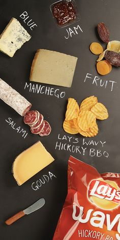 A new twist on the perfect cheese plate: your favorite cheeses paired with Lay's Wavy Hickory BBQ Chips for a yummy kick!