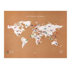 Cork Map with World Flag Pins - Cork Map with World Flag Pins Interactive World Map, Miss Wood, Cork Map, World Map Travel, International Flags, Maps For Kids, Flag Pins, Flags Of The World, Unusual Gifts