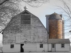 Wisconsin barn and silo. Country Barns, Country Life, Country Living, Country Roads, Interesting Buildings, Beautiful Buildings, Agricultural Buildings, Old Bricks, Farm Barn