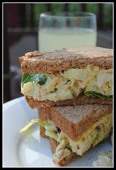 Curried Chicken Salad Sandwiches slightly adapted from Healthy Food for Living