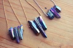 Chunky Rainbow Raw Aura Quartz Crystal Spike by kissthefuture