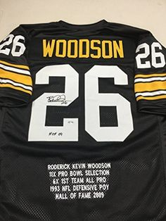 #fishingshopnow Rod Woodson Autographed Signed Pittsburgh Steelers Custom Stat Jersey GTSM Woodson Personal Player Hologram