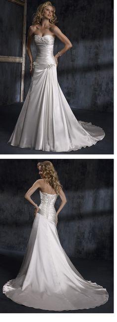 Empire Strapless Sleeveless Elastic Woven Satin Wedding Dresses