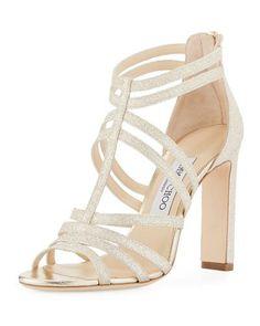 X3WY7 Jimmy Choo Selina Glitter Strappy Sandal