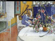Sweden Museum: Carl Larsson Online, bobina-interior med kaktus, Oil Paintings Only For Art Lovers! This is a non-profits site and shows all the paintings of Carl Larsson's art works. Carl Larsson, Scandinavian Art, Oil Painting Reproductions, Large Painting, Museum Of Fine Arts, Beautiful Paintings, Lovers Art, Folk Art, Street Art
