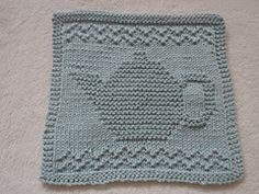 Ravelry: Teapot III Dishcloth pattern by Louise Sarrazin Knitting Blocking, Knitting Squares, Dishcloth Knitting Patterns, Crochet Dishcloths, Knitting Yarn, Crochet Patterns, Crochet Afghans, Knitting Needles, Crochet Stitches