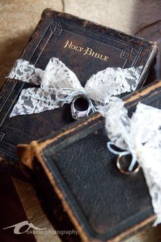 Rings on bible for ring bearer