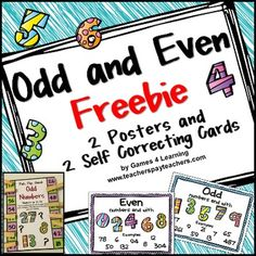 FREEBIE - Odd and Even Numbers Freebie with Posters and Pick, Flip and Check cards by Games 4 Learning - The fun way to review odd and even numbers.