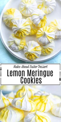 Lemon Meringue Cookies are made from egg whites whisked into a stiff meringue and baked until they are crunchy on the outside and soft in the middle. Lemon Meringue Cookies, Meringue Cookie Recipe, Merangue Recipe, Easter Cookie Recipes, Lemon Meringue Cheesecake, Macaron Cookies, Easy No Bake Desserts, Delicious Desserts, Dessert Recipes