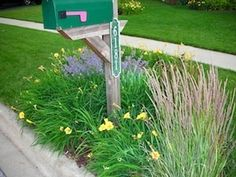mailbox landscaping ideas | This green mailbox is surrounded by a simple but colorful combination ...