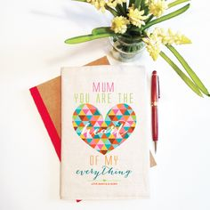 Looking for a unique, beautiful and personalised gift for mum, grandma, or an Aunt? This The Heart of My Everything notebook with reusable cover is just the thing.