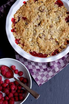 Rhubarb, Strawberry & Raspberry Crumble