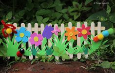 popsicle stick crafts. popsicle stick fence garden