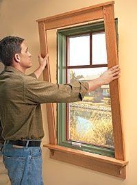 Craftsman Style Window Makeover. (intermediate skills) Craftsman Bungalows, Craftsman Style Homes, Craftsman Style Interiors, Remodeling Mobile Homes, Home Remodeling, Window Casing, Wood Trim, Pine Trim, Interior Trim