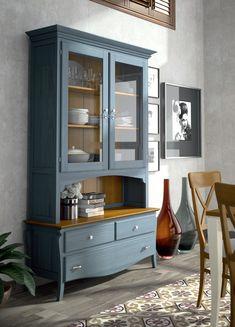 Vitrina clásica original en color azul y cerezo natural compuesta por tres cajones y dos puertas de cristal, entra aqui y descubre sus detalles técnicos: http://www.rusticocolonial.es/mueble-clasico/muebles-de-sal%C3%B3n-cl%C3%A1sicos/vitrinas-cl%C3%A1sicas/vitrina-cristal-para-salon-ref-3511-detail